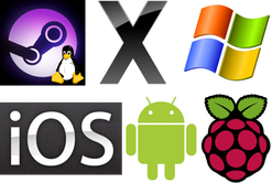 SteamOS, OSX, Windows, iOS, Android, Raspberry Pi