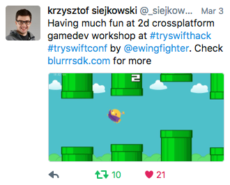 krzysztof siejkowsli: Having much fun at 2d crossplatform gamedev workshop at #tryswifthack #tryswiftconf by @ewingfighter. Check blurrrsdk.com for more